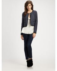 Theory | Blue Ladonia Cropped Tweed Jacket | Lyst