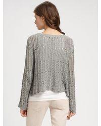 Theory | Metallic Abea Cropped Silk Crochet Sweater | Lyst