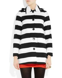 Alice + Olivia | Black Constance Striped Stretch-cotton Hooded Coat | Lyst