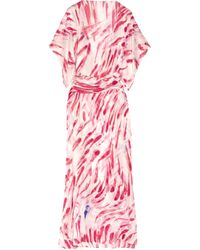 Antonio Berardi | Pink Printed Silk-georgette Kaftan Gown | Lyst