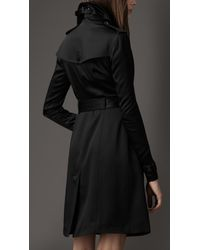 Burberry - Black Silk Trench Coat - Lyst