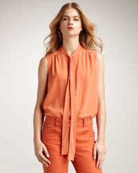Chloé | Orange Sleeveless Tie-neck Blouse | Lyst