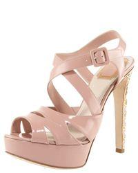Dior   Pink Cannage-heel Platform Sandal   Lyst