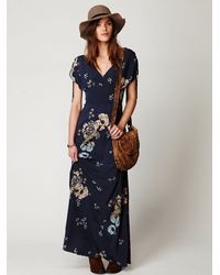 Free People | Blue Stardust Short Sleeve Maxi Dress | Lyst