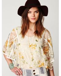 Free People | Multicolor Floral Chrissy Lace Top | Lyst