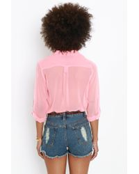 Nasty Gal - Pink Rock Candy Blouse  - Lyst