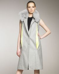 Alexander Wang - Gray Sleeveless Coat with Fur Collar - Lyst