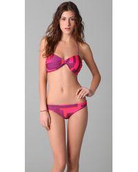 Alice + Olivia | Pink Bow Halter Bikini Top | Lyst