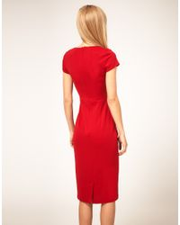 ASOS Collection - Red Asos Midi Pencil Dress with Pleat Waist - Lyst