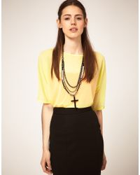 ASOS Collection - Black Asos Multi Row Cross Pendant - Lyst