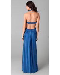 BCBGMAXAZRIA - Blue Jordana Long Cutout Gown - Lyst