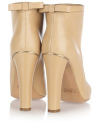 Chloé - Natural Bow-embellished Leather Ankle Boots - Lyst