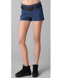 Opening Ceremony | Blue Denim Shorts with Leather Ruffle | Lyst