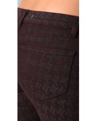 J Brand - Brown Houndstooth Skinny Capri Pants - Lyst