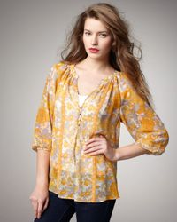 Joie | Yellow Gloria Printed Silk Top | Lyst