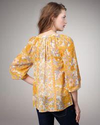 Joie - Yellow Gloria Printed Silk Top - Lyst