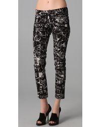 McQ | Black Graffiti Print Ankle Jeans | Lyst