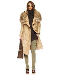 MICHAEL Michael Kors | Natural Long Faux-fur Collar Coat | Lyst