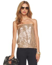 MICHAEL Michael Kors | Natural Sequined Tube Top | Lyst