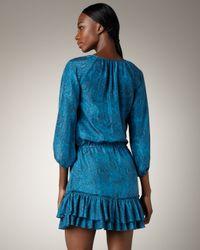 Rebecca Taylor   Blue Python-print Ruffle Dress   Lyst