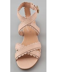 See By Chloé | Pink Scallop Ankle Wrap Flat Sandals | Lyst