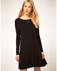 ASOS Collection | Black Asos Swing Dress with Long Sleeves | Lyst