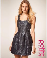 ASOS Collection | Blue Asos Petite Exclusive Party Dress in Metallic | Lyst
