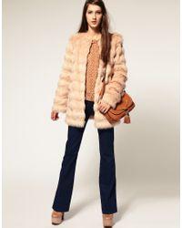 ASOS Collection | Pink Asos Petite Stripe Faux Fur Coat | Lyst