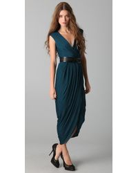Doo. Ri - Blue Long V Neck Dress with Belt - Lyst