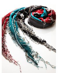 Free People - Multicolor Beaded Fringe Skinny Scarf - Lyst