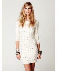 Free People | White Long Sleeve Embellished Party Dress | Lyst