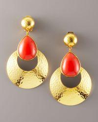 Jose & Maria Barrera | Metallic Coral Teardrop Earrings | Lyst