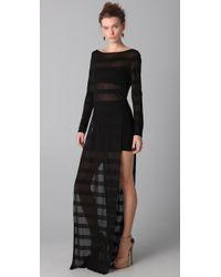 Kevork Kiledjian - Black Striped Open Side Dress - Lyst