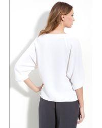 Louben | White Three Quarter Sleeve Silk Blouse | Lyst