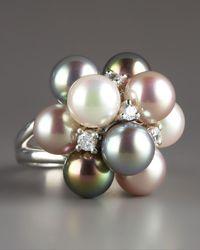 Majorica - Metallic Pearl Cluster Ring - Lyst