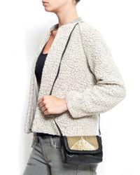 Mango | Black Leather Messenger Handbag | Lyst