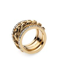 MICHAEL Michael Kors | Metallic Michael Kors Stack Ring | Lyst