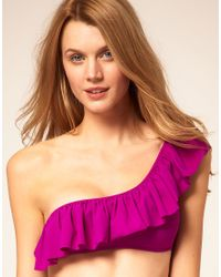 Mouille' | Purple Frill One Shoulder Bikini Top | Lyst