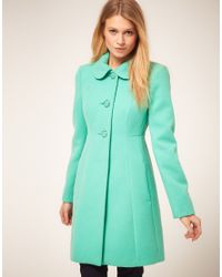 Oasis | Green Coloured 60s Coat | Lyst