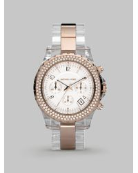Michael Kors | Metallic Madison Chronograph Lucite Watch | Lyst