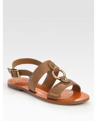 Tory Burch | Brown Fletcher Leather Buckle Slingback Sandals | Lyst