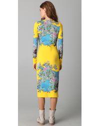 Preen By Thornton Bregazzi - Yellow Scuba Midi Dress - Lyst