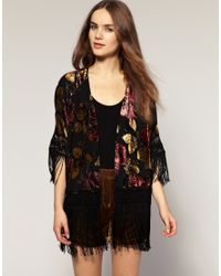 River Island | Black Fringed Devore Print Jacket | Lyst