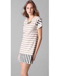 Thread Social | Natural Striped T-shirt Dress | Lyst