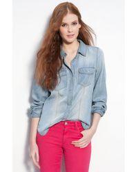 Trouvé   Blue Faded Denim Shirt   Lyst