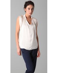 Vince | White Cowl Neck Sleeveless Blouse | Lyst