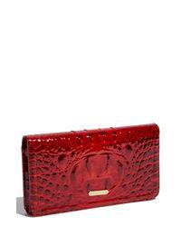 Brahmin | Red Lexington Patent Continental Wallet | Lyst