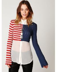 Free People | Multicolor American Flag Crop Pullover | Lyst