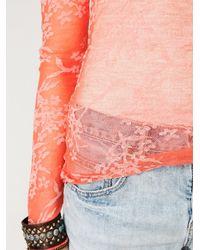 Free People - Orange Floral Burnout Henley - Lyst