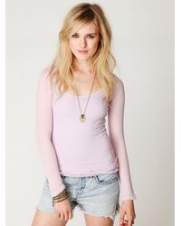 Free People - Pink Gauzy Knit Long Sleeve Top - Lyst